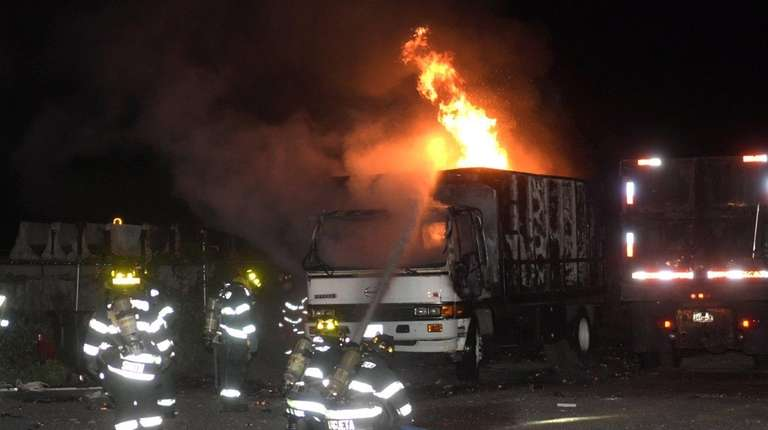 An early morning truck fire at a contractor's