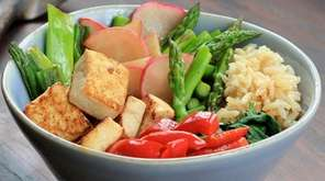 Golden seared tofu, quick-cooking brown rice, asparagus, red