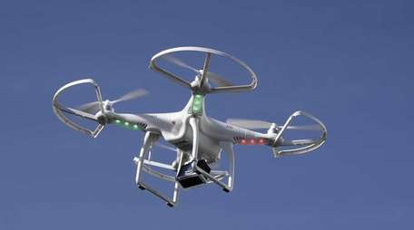 A drone flies at the International Consumer Electronics