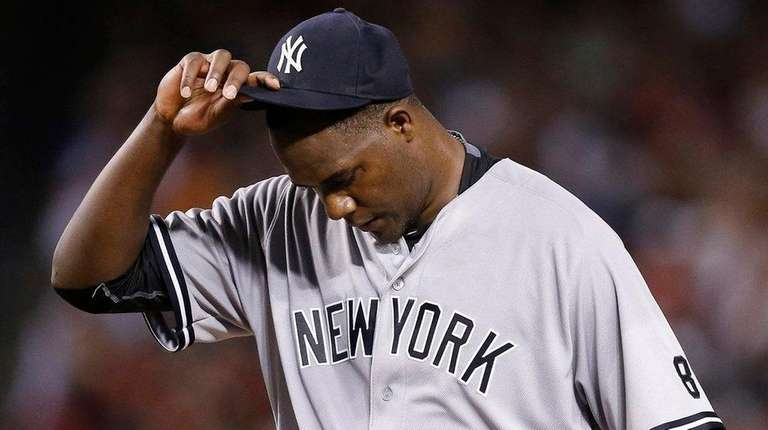 New York Yankees' Michael Pineda pauses on the