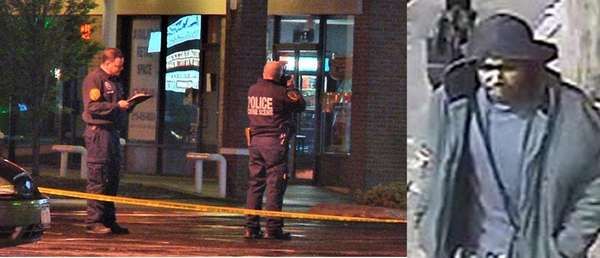Officers outside a Subway store in North Lindenhurst