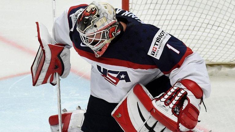 Keith Kinkaid makes a save during an IIHF