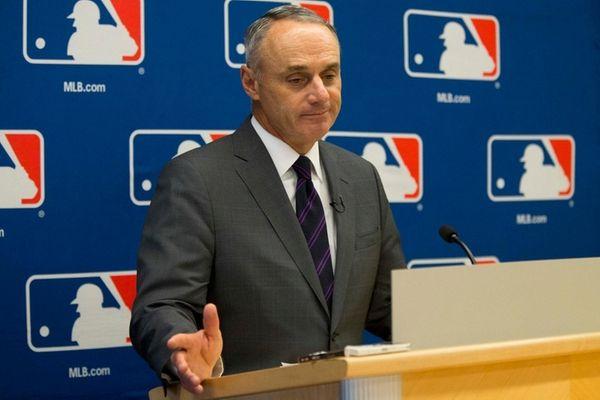 Major League Baseball commissioner Rob Manfred speaks to