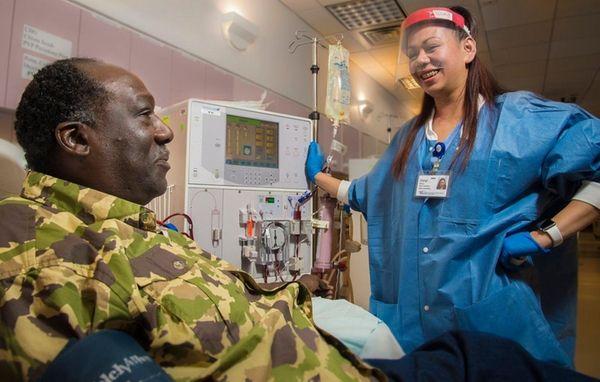 Gregory Williams, of Far Rockaway, with dialysis technician