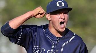 Oceanside's Kyle Martin celebrates final out during the