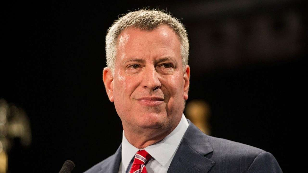 Mayor Bill de Blasio is seen at Baruch