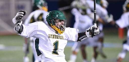 Lynbrook midfielder Eddie Perlstein celebrates as time runs