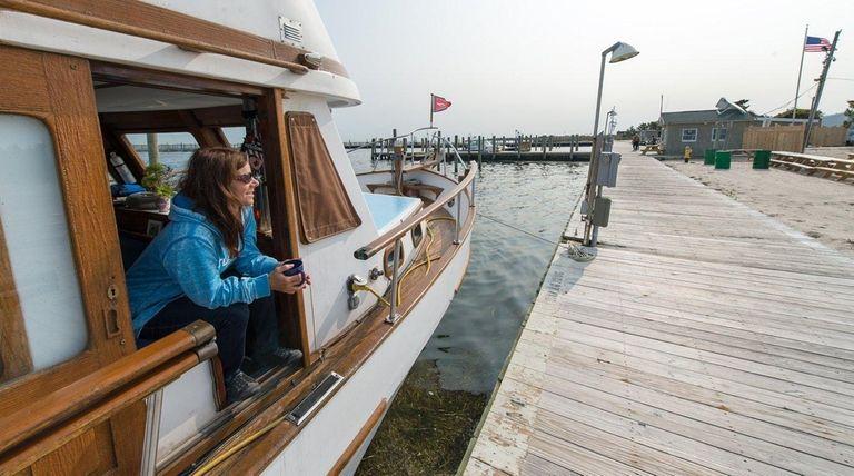 Roseanne Harris, of Bay Shore. aboard her boat