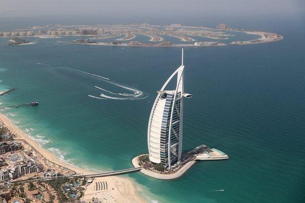 The sail-shaped hotel Burj Al Arab is one