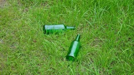 Litter on a law.