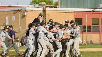Bellmore JFK celebrates after defeating Seaford High School