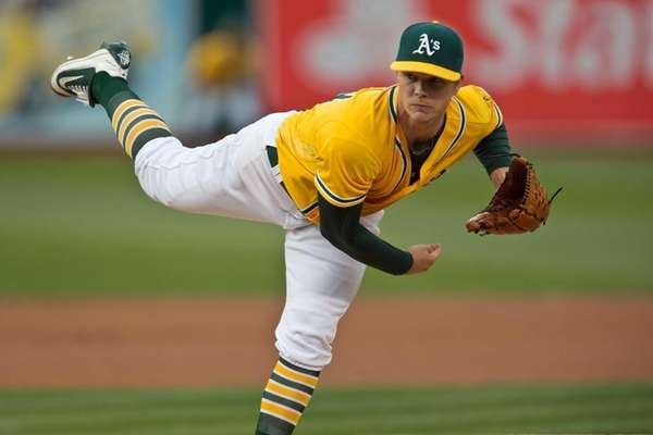 Sonny Gray of the Athletics pitches against the