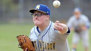 East Meadow's winning pitcher Ryan Wallstedt on the