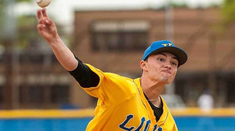 West Islip's Ray Weber (37) pitches during their