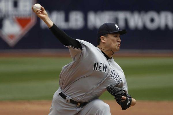 Starting pitcher Masahiro Tanaka #19 of the New