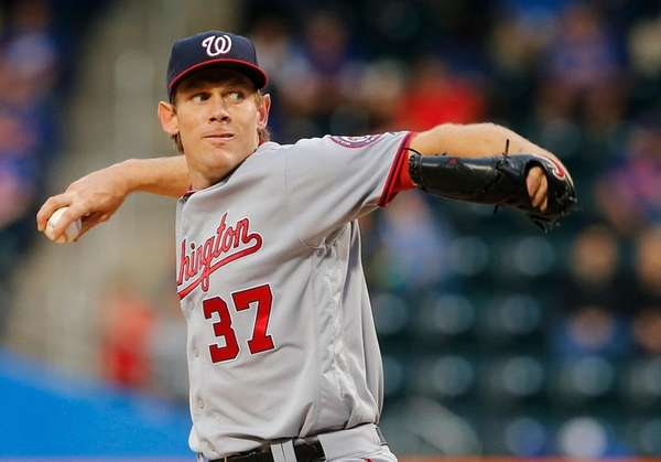 Pitcher Stephen Strasburg of the Washington Nationals delivers