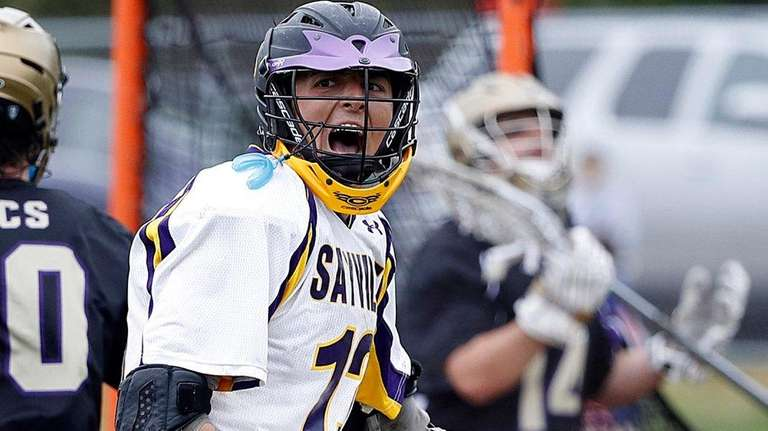 Sayville's Jason Intermesoli's (13) reacts after his shot