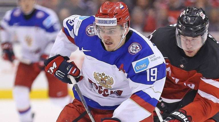 Pavel Buchnevich #19 of Team Russia tries to