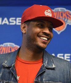 New York Knicks forward Carmelo Anthony speaks to