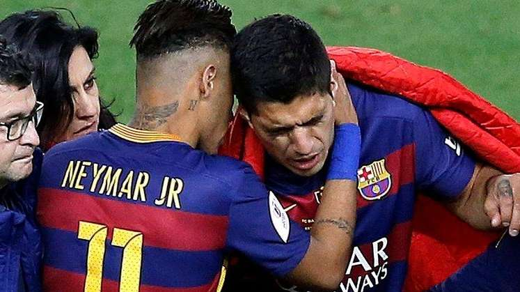 FC Barcelona's Neymar Jr (2-L), and Lionel Messi