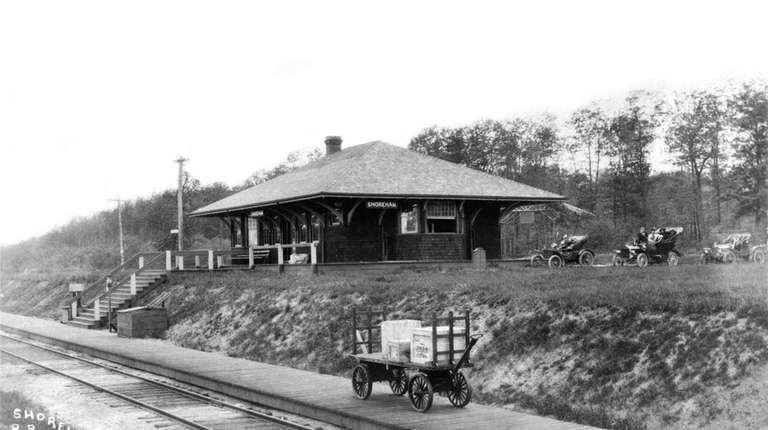 Shoreham railroad station, LIRR 1918. Ken Brady, Port