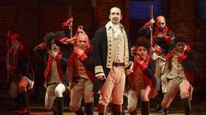 Lin-Manuel Miranda and the company in the Broadway