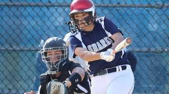 Eastport-South Manor's Nicole Shine #14 hits a double