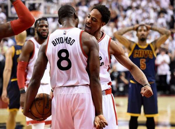 Toronto Raptors center-forward Bismack Biyombo and DeMar DeRozan