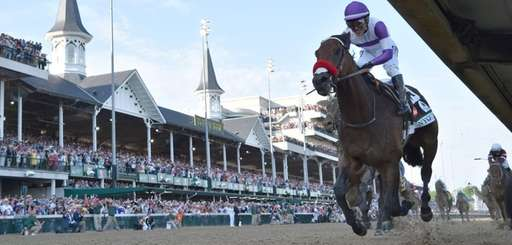 Mario Gutierrez rides Nyquist to victory during the