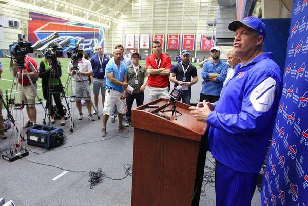 Buffalo Bills head coach Rex Ryan speaks to