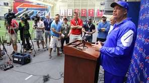 Buffalo Bills head coach Rex Ryan speaks to