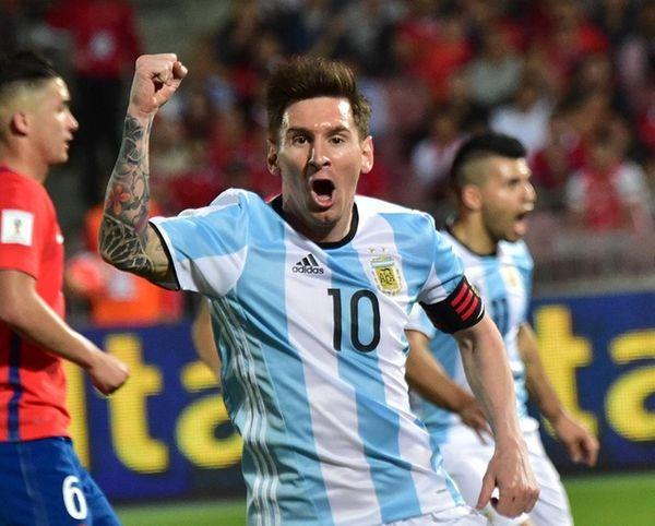 Argentina's Lionel Messi celebrates the team's second goal