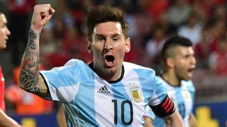 Argentina's Lionel Messi celebrates the team's second goal