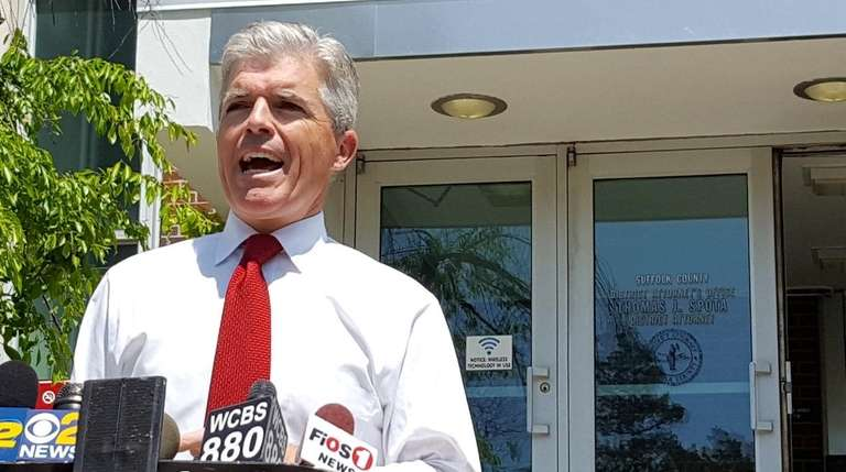 Suffolk County Executive Steve Bellone addresses the media