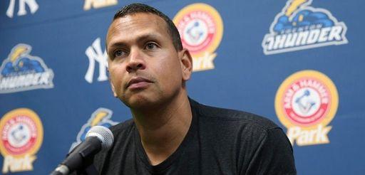New York Yankees designated hitter Alex Rodriguez listens