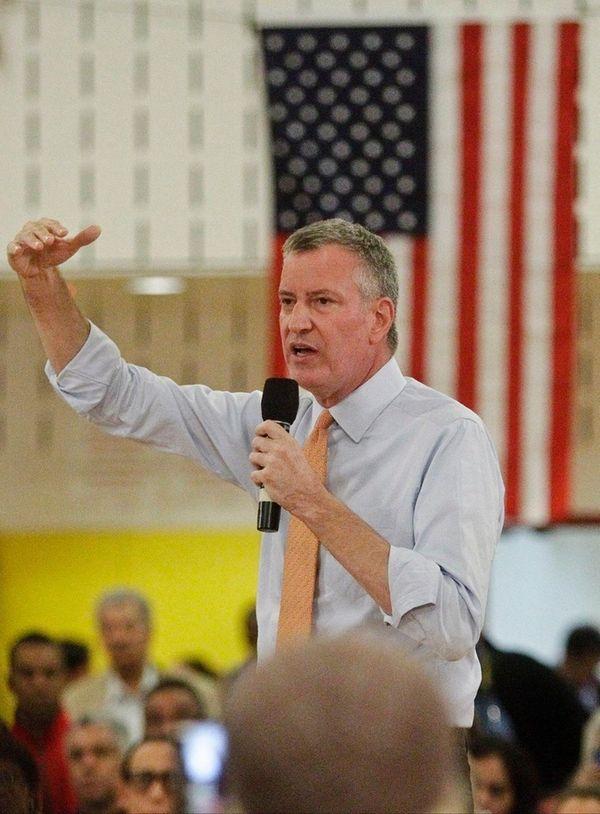 New York City Mayor Bill de Blasio, above