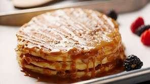 Banana crumb pancakes with dulce de leche sauce