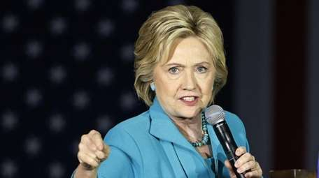 Democratic presidential candidate Hillary Clinton speaks in Commerce,