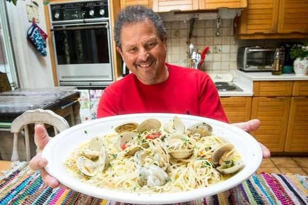 Bert Spitz shows off his pasta with white