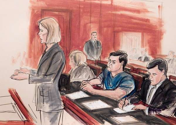 In this courtroom sketch, Assistant U.S. Attorney Anna