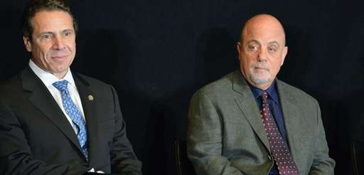 Gov. Andrew Cuomo, left, interviewed Billy Joel for