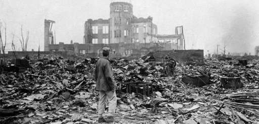 An Allied correspondent stands on Sept. 8, 1945,