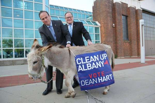 Dean Hart, right, a candidate for the New