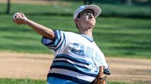 Rocky Point's Brett Goldstein pitches during Game 1