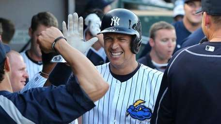 New York Yankees third baseman Alex Rodriguez celebrates