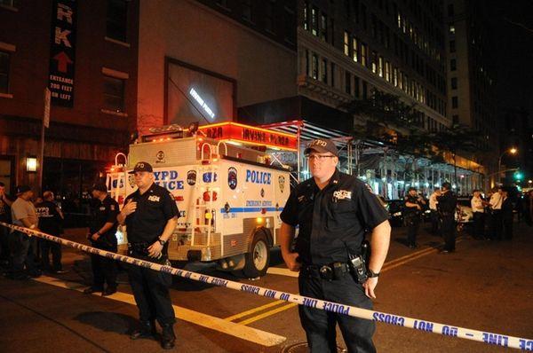 The scene outside Irving Plaza in Manhattan Wednesday