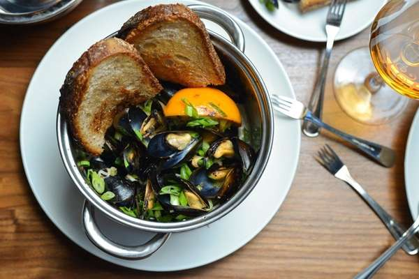 The steaming pot of Prince Edward Island mussels
