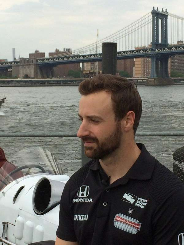 Indy 500 polesitter James Hinchcliffe is seen on