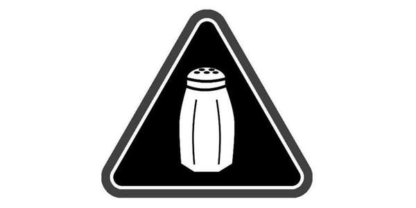This warning symbol, a saltshaker icon, will have