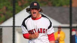 Pitcher Sam Kessler #22 celebrates after the final